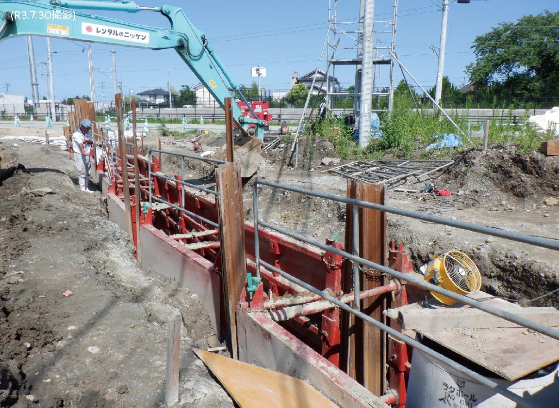 現在の現地の様子 その3「下水道整備のための簡易土留め設置・埋め戻し状況  」