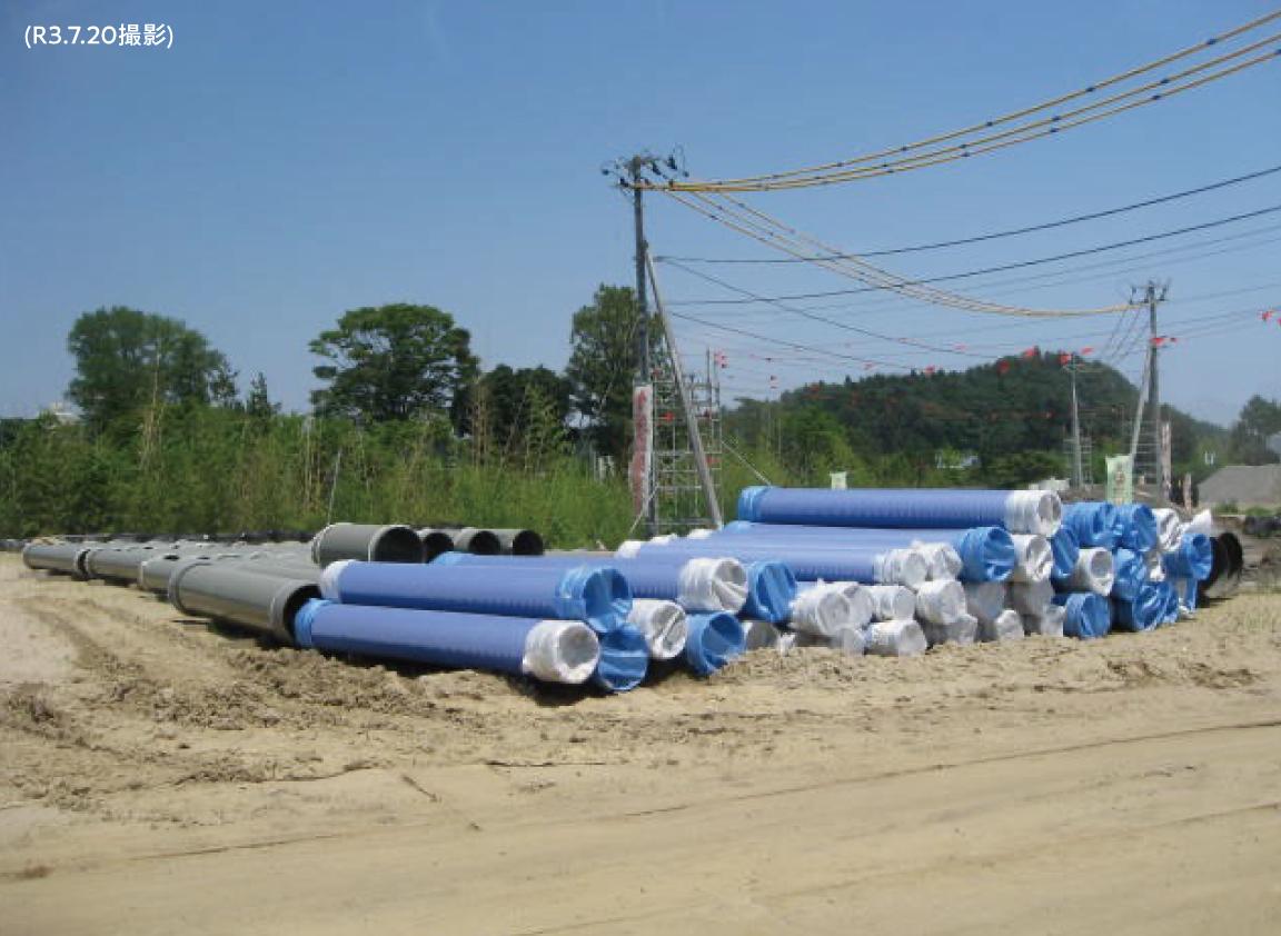 現在の現地の様子 その9「下水道設備の資材保管状況 」